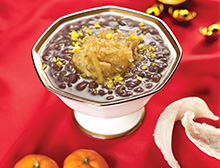 Bird's Nest with Red Bean Paste topped with Fresh Orange Peel
